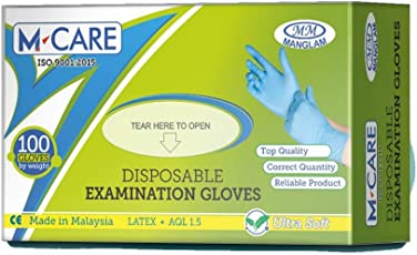 Manglam Medikits Latex Disposable Medical Examination Gloves (100 pc) Large Size
