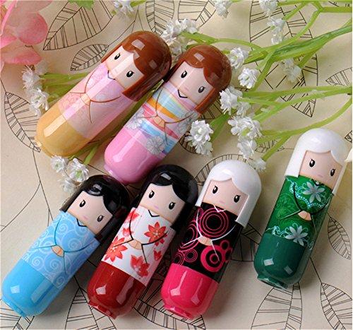 interestingr-6pcs-netter-karikatur-kimono-geisha-puppe-lippenbalsam-glanz-fester-stock-feuchtigkeits