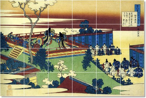 AZULEJO KATSUSHIKA HOKUSAI UKIYO-E MURAL REMODELACION DEL HOGAR TRADICIONAL  17X 25 5CM CON (24) 4 25X 4 25AZULEJOS DE CERAMICA
