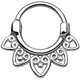 Gekko Body Anello in acciaio chirurgico 316L per setto nasale, design tribale, chiusura a scatto–1,2mm