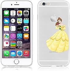 Disney PRINCESS ; MINIONS ; WINNIE ;trasparente in poliuretano termoplastico per iPhone-Cover per Apple iPhone 5, 5S, 5C, 6/6S , 6+,7(iphone 6/6s, Belle)