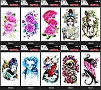 GGSELL GGSELL 10pcs temp fake tattoo stickers in 1 package, it including,various colorful roses, peony, lovely baby, women, cat, fish, skull, animal, etc