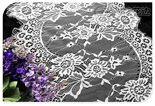 Chantilly ALE10 Braut-/Hochzeitskleid, Blumenmuster, Stoff, Muschelbordüre, Applikation, Kleidungsvorhänge, 300 x 34,5 cm, Schwarz/Weiß gebrochenes weiß