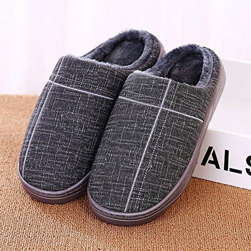 YMFIE Mesdames et messieurs lhiver PU antidérapant imperméable coton chaussons chaussons chaussures chaudes H