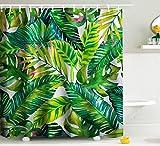Ormis tenda da doccia resistente alla muffa impermeabile tenda doccia set con ganci accessori bagno foglia stampa misura 167,6cm (W) x 182,9cm (H), Greend e giallo