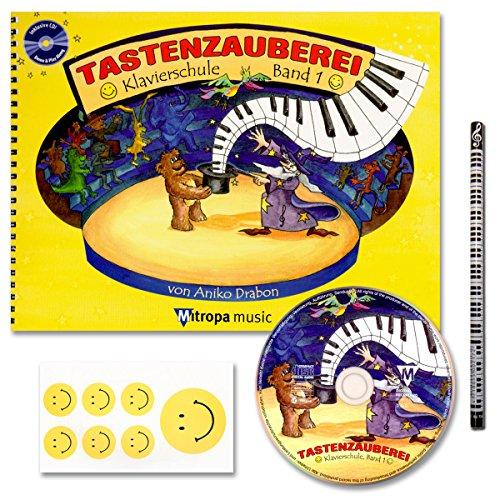 TASTENZAUBEREI - mit CD + Piano-Bleistift + 7 lustige Smiley-Sticker - Klavierschule Band 1 von Aniko Drabon - der zauberhafter Einstieg ins Klavierspiel! [Spiralbuchbindung / Musiknoten] (Klavier Lektion-bücher Für Kinder)