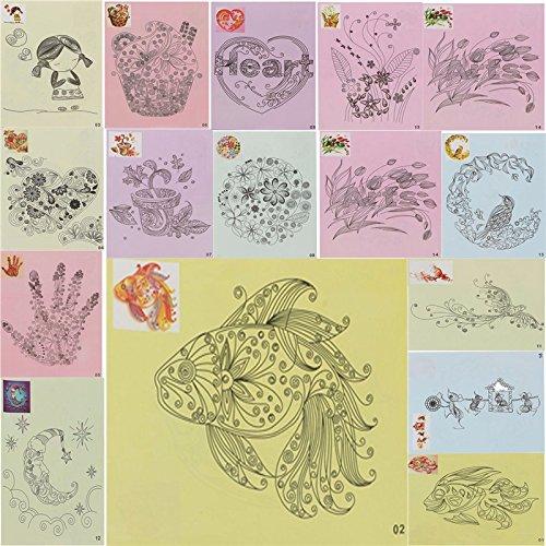 Moumou 16 x 32 Quilling-Muster-Schablonen DIY Quilling Papier Werkzeuge mit Lokalisierpapier