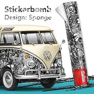 100x150cm Stickerbomb Auto Folie in schwarz/weiß Glänzend - Sticker Logo Bomb - JDM Aufkleber - Design: Sponge