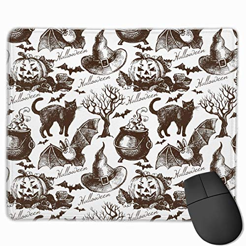 e Pad Rectangle Rubber Mousepad Bat Cat Halloween Print Gaming Mouse Pad ()