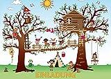10-er-Set KLETTERPARK/Geburtstagseinladungen Kinder Mädchen Jungen/Einladungskarten zum Kindergeburtstag zum Klettern/in den Wald/Hochseilgarten von EDITION COLIBRI (10726)