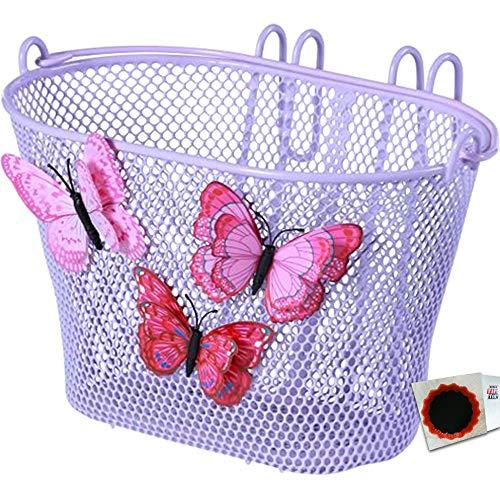 Basil Kinder Korb Jasmin Butterfly engmaschig lila Fahrradkorb + SCHLAUCHFLICKEN