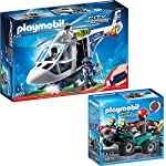 PLAYMOBIL® City Action 2 pcs. Set 6874 6879 Police Helicopter with LED searchlights + Robber-Quad with winch