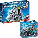 PLAYMOBIL® City Action 2er Set 6874 6879 Polizei-Helikopter mit LED-Suchscheinwerfer + Ganoven-Quad mit Seilwinde