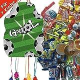 Carpeta Pinata Set: * Fussball * mit Pinata + 100-teiliges Süßigkeiten-Füllung No.1 Spanische Zugpinata für bis zu 7 Kinder. Tolles Spiel für Kindergeburtstag