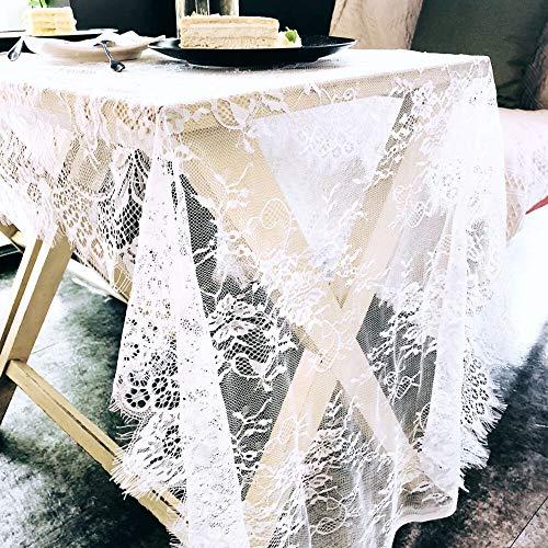 JIAN YA NA Tischläufer mit Spitze, Vintage-Design, Weiß mit Blumenmuster, für Hochzeit, Tischdekoration, Baby & Brautparty, Party-Dekoration, 75 x 300 cm