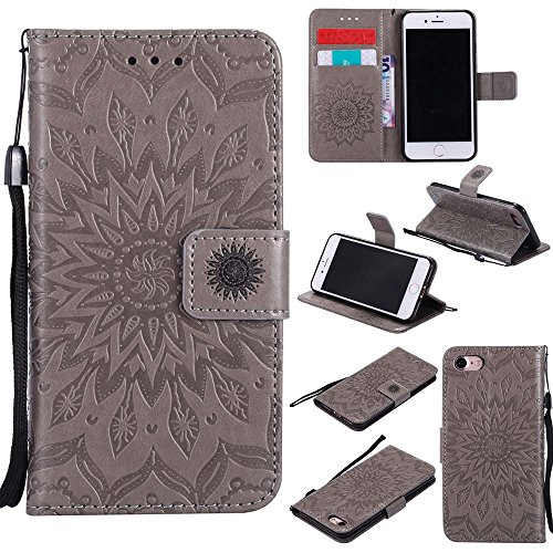 Custodia iPhone 7, Dfly Premium PU Goffratura Mandala Design Pelle Chiusura Magnetica Protettiva Portafoglio Custodia Super Sottile Flip Cover per iPhone 7 (4.7 Pollici), Rosa Oro Grigio