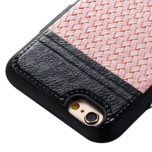 Pour Apple iPhone 6s Plus(5.5 Zoll ) Case Cover, Ecoway TPU Conception de texture tissée Housse en silicone Housse de protection Housse pour téléphone portable pour Apple iPhone 6s Plus(5.5 Zoll ) - N Noir + rose