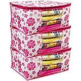 Kuber Industries™ Non Woven Saree Cover Pink Floral Design Set of 3 Pcs (Capacity Upto 15 Sarees) -SS17