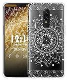 Sunrive Für OnePlus 6 Hülle Silikon, Transparent Handyhülle Luftkissen Schutzhülle Etui Case für OnePlus 6(TPU Blume Weiße)+Gratis Universal Eingabestift
