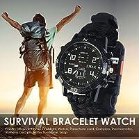 Sue Supply Survival Armbanduhr Wandern Rettung Armband Travel Watch Bracelet mit Paracord Kompass Whistle Beste für Zurrgurte Camping Erste Hilfe Klettern Bergsteigen Wandern Trekking Abenteuer