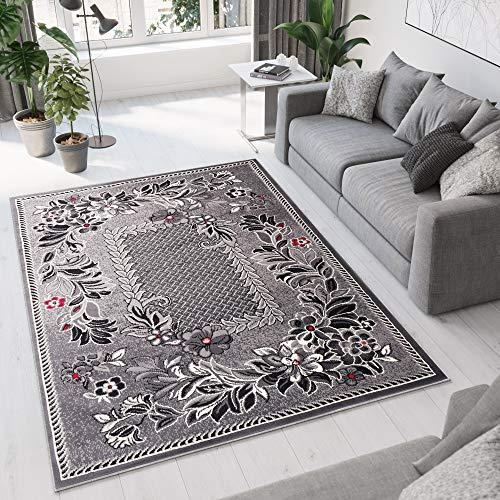 Tapiso Dream Teppich Wohnzimmer Kurzflor Grau Rot Creme Schwarz Floral Blumen Blätter Karo Bordüre Schlafzimmer Küche ÖKOTEX 250 x 350 cm - Küche-teppich-blumen