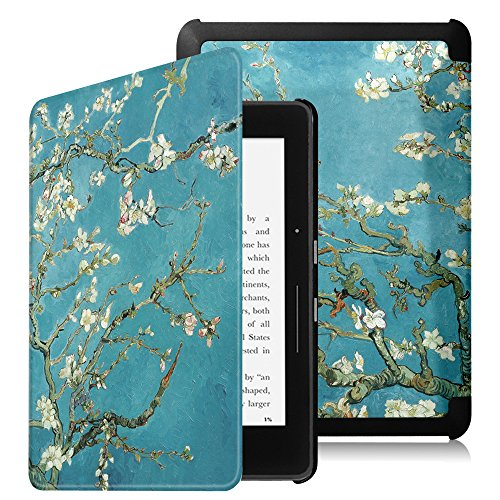 Fintie Kindle Voyage SlimShell Case - [The Thinnest and Lightest] Protective PU Leather Cover with Auto Sleep/Wake (will only fit Amazon Kindle Voyage 2014), Blossom