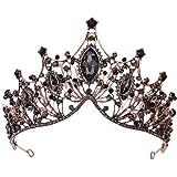 Minkissy Corona da Sposa Barocca Corona da Regina Vintage Diadema Diadema Barocco Corona da Sposa con Strass per Sposa Nera