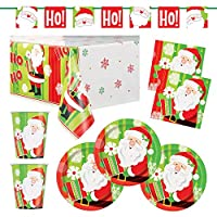 Deluxe Santa Claus Christmas Party Supplies Pack - Disposable Paper Plates, Napkins, Cups, Banner Decoration and Tablecover - Serves 16