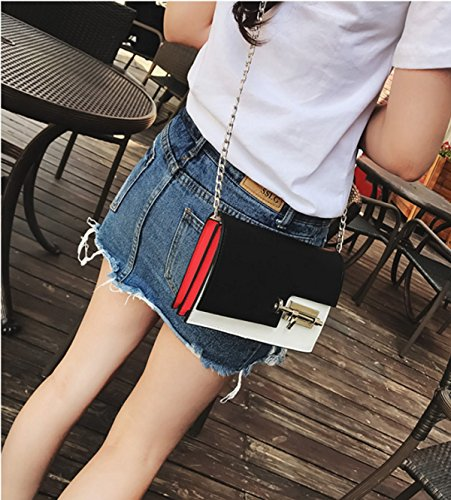 Frauen PU-Leder Persönlichkeit Lock Schlägt Die Farbe Einzelne Schulter-Umhängetasche Tasche. Black