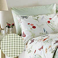 Just Contempo Gingham Check Pillow Cases Pack of 2, Polyester, Green, Single