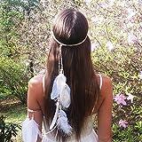 jovono Feder Haarband Fascinator Quasten Stirnband Band für Frauen (weiß)
