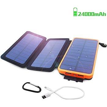 Oxsaytee Batterie Externe 24000mAh Power Bank Solaire, Chargeur Solaire avec 2 Entrées(3 Panneaux Solaire & USB) 2.1A 2 Ports Haute Vitesse, Lampe LED et Crochet pour iPhone iPad Samsung et Autres