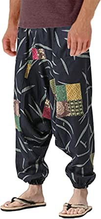 AITFINEISM Men's Harem Hippie Pants Baggy Boho Patterned Low Crotch Lounge Wide Leg Trousers for Yoga Summer Beach