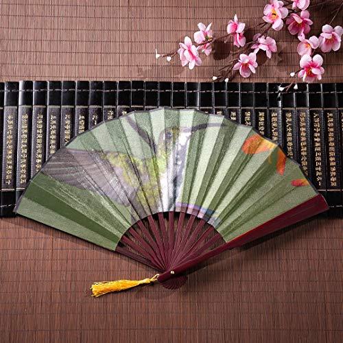 WYYWCY Hand-Reise-Fan-Kolibris saugen Nektar mit Bambusrahmen-Quasten-Anhänger und Stoffbeutel-chinesischem altem Fan-japanischem faltbarem Fan-Handfächer-Dekor