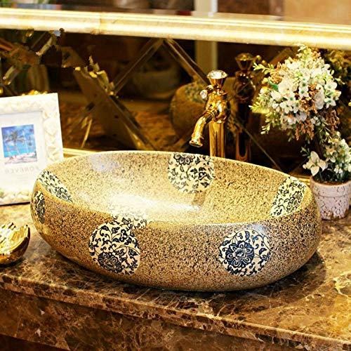 Gorheh Bunte Imitation Steine   Porzellan Bad Eitelkeit Waschbecken Schüssel Arbeitsplatte Oval Keramik Waschbecken Waschbecken (Bad Eitelkeit, Zwei 60 Waschbecken)