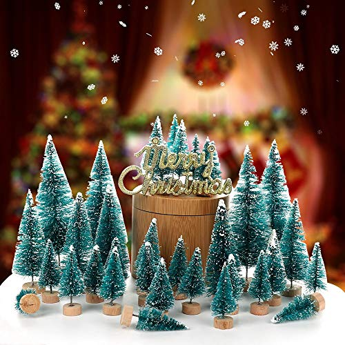 Trees - 34pcs Set Christmas Tree Artificial Sisal Pine With Wood Base Diy Crafts Home Table Decoration - 50 Encyclopedia Unlit Weeping Holiday Ice Trends Porch Spicy Cohen