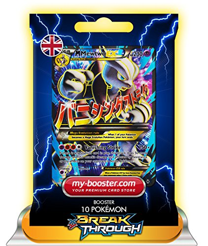 MEGA MEWTWO EX (Mewtu) FULL ART 158/162 230HP XY08 BREAK THROUGH - Booster mit 10 Englische Karten Pokemon my-booster (Mega-pokemon Mewtu-karte)
