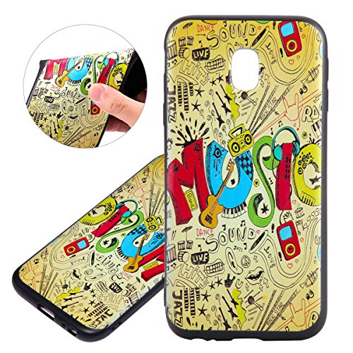 Custodia Galaxy J3 2017, ISAKEN Cover per Samsung Galaxy J3 2017 [TPU Shock-Absorption] - Colorate Sollievo Pattern Design Soft TPU sottile Custodia Case Nero Back Ultra Sottile TPU Morbido Protettiva MUSIC colorate