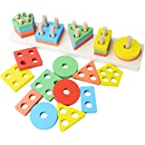 Toyshine Wooden Angle Geometric Blocks Building Stacker Shape Sorter Column Puzzle Stacking Set for Kids - B