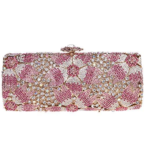 Bonjanvye studded shining sakura floral clutch bags for ladies evening bags pink