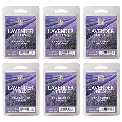 Hosley's Lavender Fields Wax Cubes - Set of 6/2.5 oz Each. Hand Poured Wax Infused with Essential Oils. Bulk Buy. Ideal for Weddings, Special Occasions, Parties, Spa, Reiki, Meditation Settings O3