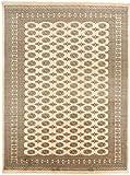 CarpetFine: Pakistan Buchara 2ply Teppich 268x357 Beige,Schwarz - Handgeknüpft - Geometrisch