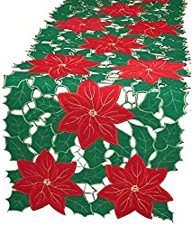 Xia Home Fashions Merry Cutwork Holiday Embroidered Cutwork 15-Inch by 54-Inch Christmas Table Runner, Green/Red