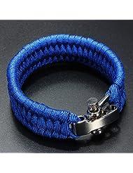 SODIAL(R) 7 Strand Supervivencia Militar pulsera de la cuerda de la armadura de la hebilla - Azul