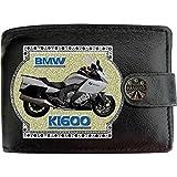 BMW K1600 Bild auf KLASSEK Marken RFID Herren Geldbörse Portemonnaie Echtes Leder Motorrad Bike Zubehör Geschenk mit Metall Box NICHT OFFIZIELLE BMW Produkte