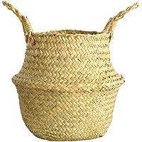 Sunnymi Rangement de maison organisation, tissé à la main pliable pour plantes Pot de fleurs Naturel Jonc de mer tissé…