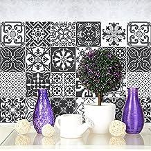 72 (Piezas) Adhesivo para Azulejos 10x10 cm - PS00008 - Negro y Blanco Floral
