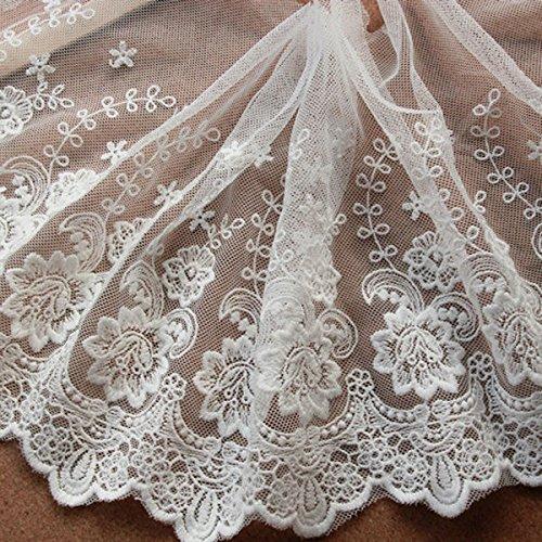Elfenbeinfarben 3Meter Retro Baumwolle Blumen bestickte Spitze Kleid Rand Spitze Trim Stoff Ribbon Hochzeit Craft Zubehör 85/20,3cm breit -