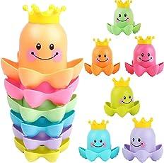 NEEDOON Baby Wasserbad Spielzeug für Kleinkinder und Kinder - Floating Octopus Stapeln Tassen Meer Ozean Angeln Tiere - Bubble BathTub Schwimmbad Strand Badezeit BPA Free - 6 Stück