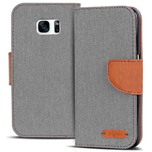 Verco Galaxy S7 Edge Hülle, Schutzhülle für Samsung Galaxy S7 Edge Tasche Denim Textil Book Case Flip Case - Klapphülle Grau